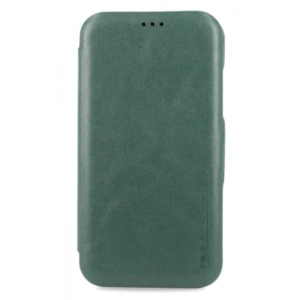 Чехол-книжка Puloka для iPhone XR на магните зеленая