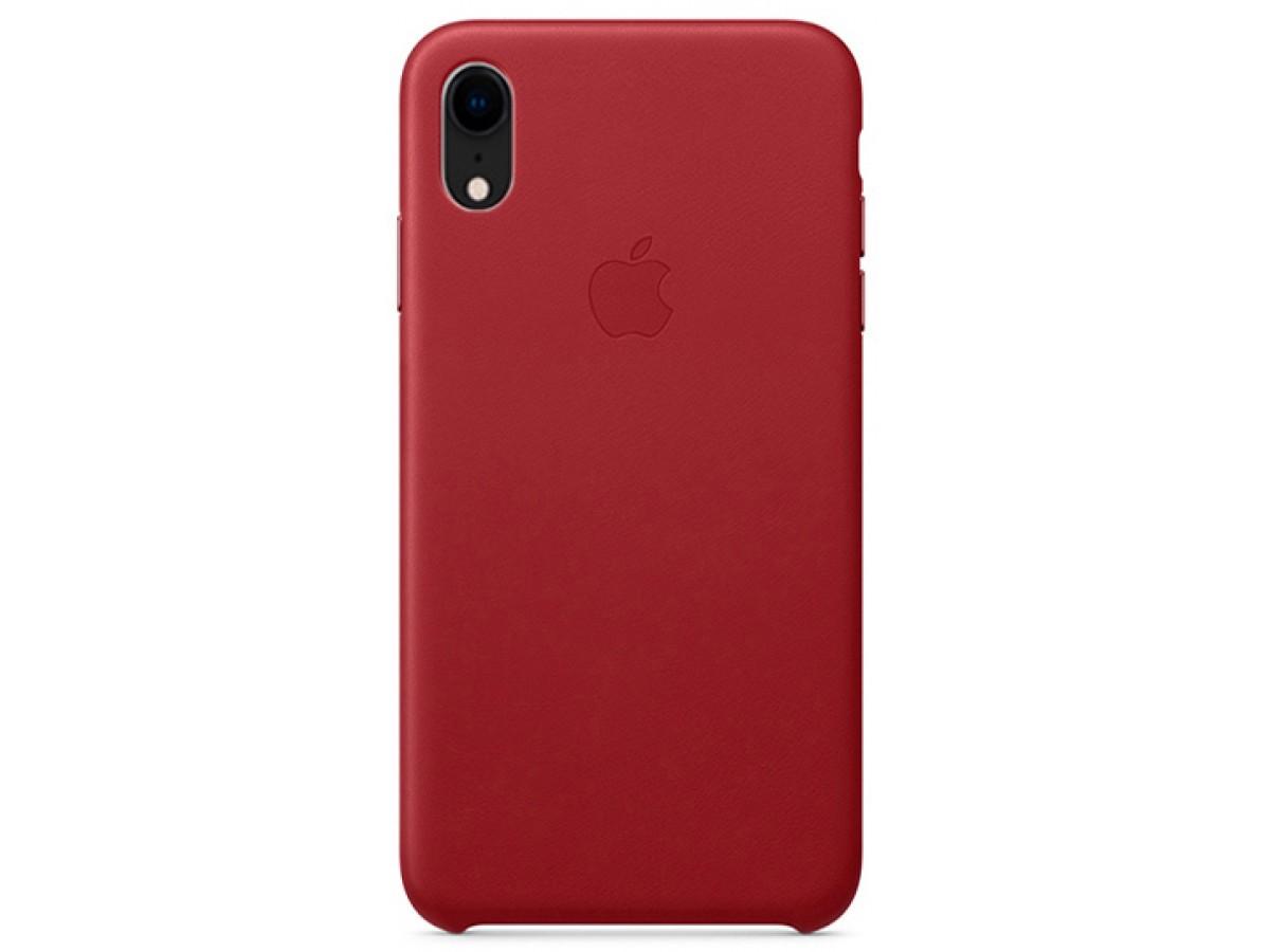 Чехол Leather Case для iPhone XR красный в Тюмени