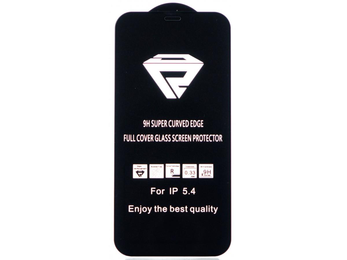 """Защитное стекло 3D для iPhone 12 Mini 5.4"""" черное Full Glue в Тюмени"""