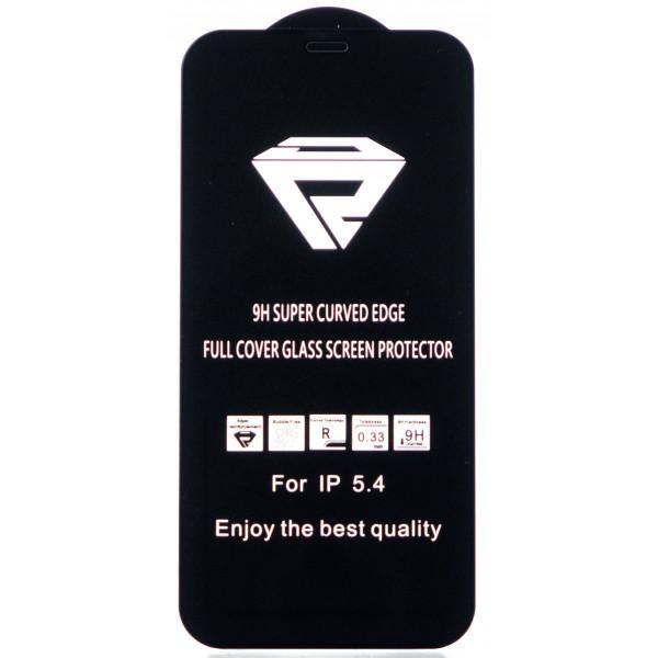 """Защитное стекло 3D для iPhone 12 Mini 5.4"""" черное Full Glue"""