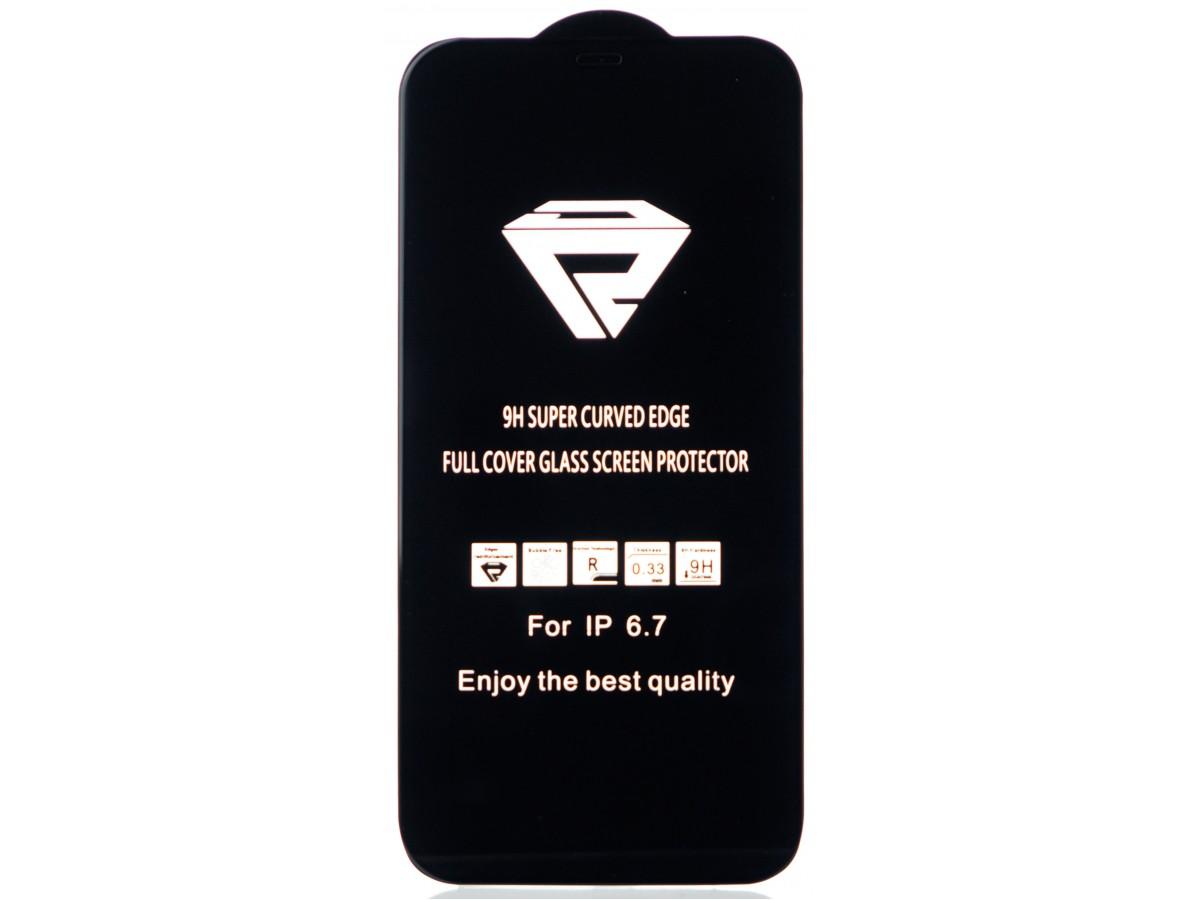 """Защитное стекло 3D для iPhone 12 Pro Max 6.7"""" черное Full Glue в Тюмени"""
