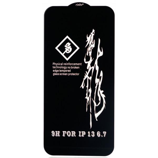 Защитное стекло 3D Rinbo для iPhone 13 Pro Max черное Full Glue