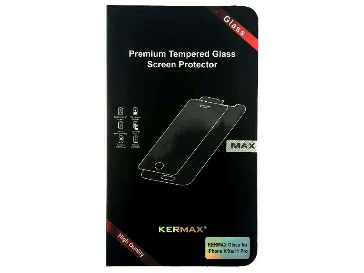 Прозрачное защитное стекло Kermax для iPhone X/Xs/11 Pro в Тюмени