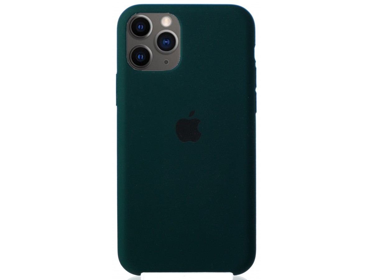 Чехол Silicone Case для iPhone 11 Pro темно-зеленый в Тюмени