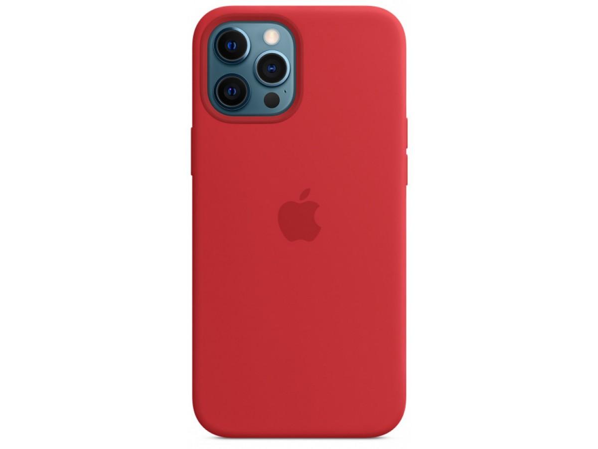 Чехол Silicone Case для iPhone 12 Pro Max красный в Тюмени