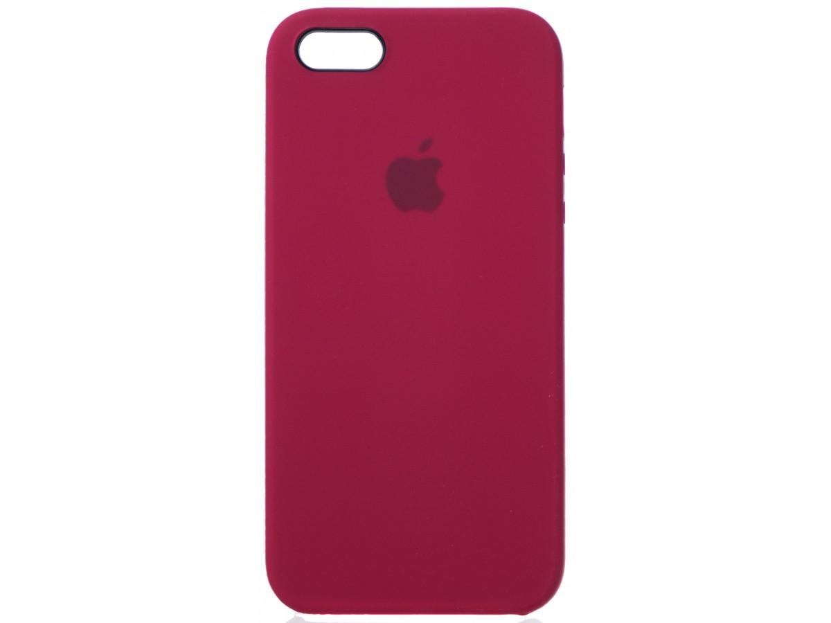 Чехол Silicone Case для iPhone 5/5s/SE бордовый в Тюмени