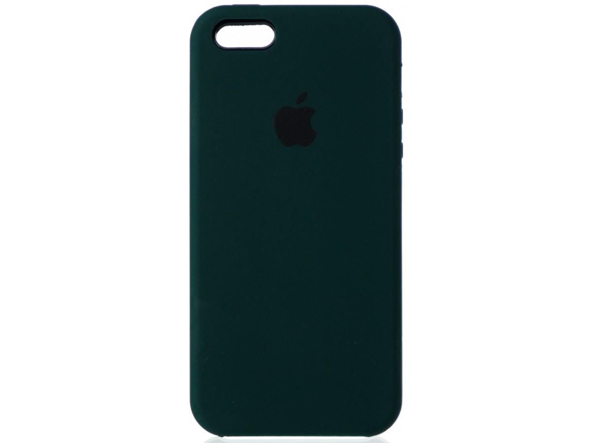 Чехол Silicone Case для iPhone 5/5s/SE темно-зеленый в Тюмени