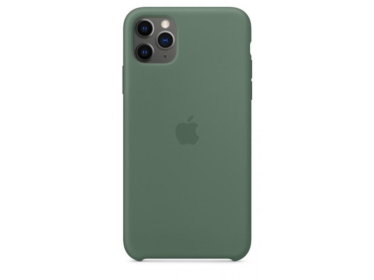 Чехол Silicone Case (С) iPhone 11 Pro темно-зеленый в Тюмени