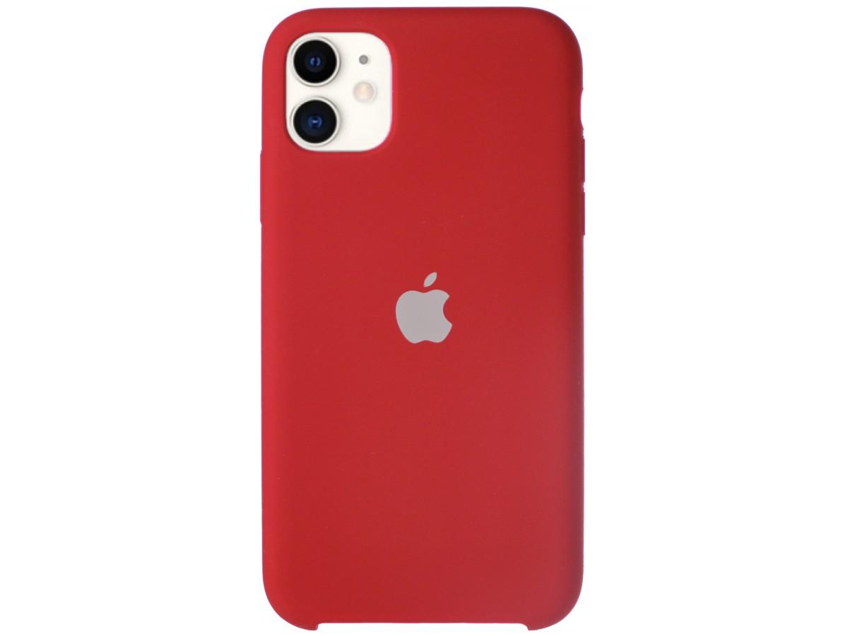 Чехол Silicone Case для iPhone 11 темно-красный в Тюмени