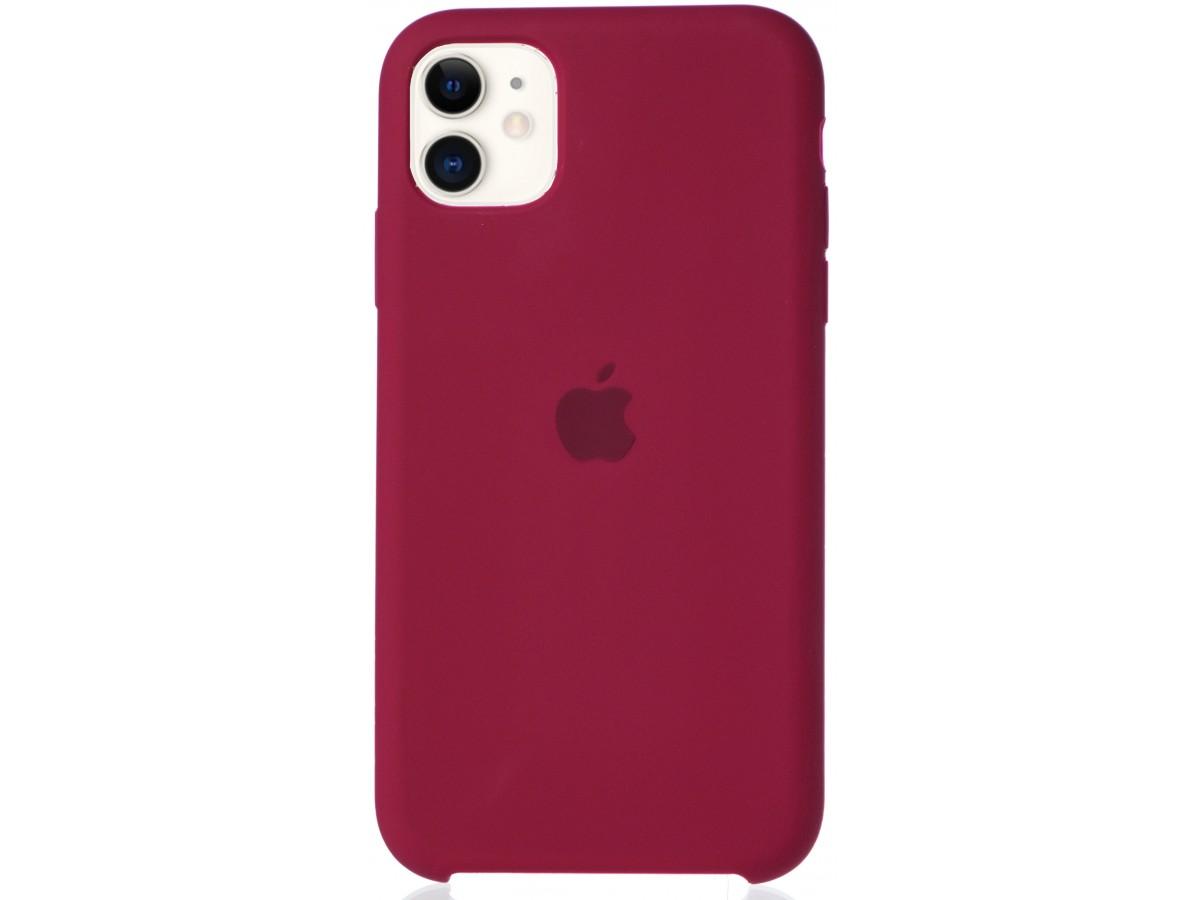 Чехол Silicone Case для iPhone 11 малиновый в Тюмени