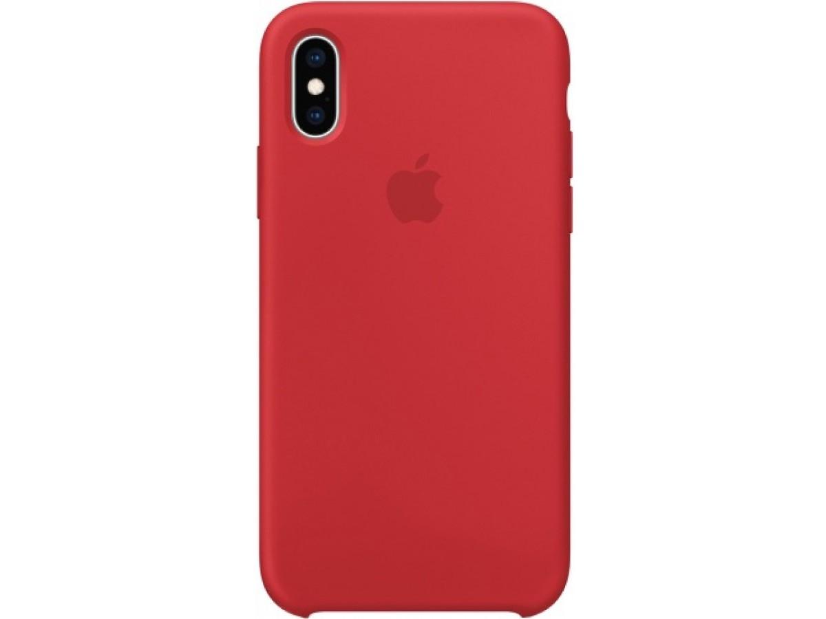 Чехол Silicone Case для iPhone Xs Max красный в Тюмени