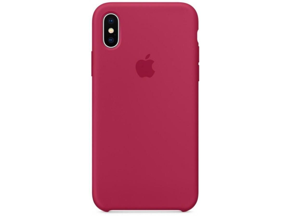 Чехол Silicone Case качество Lux для iPhone X/Xs малиновый в Тюмени