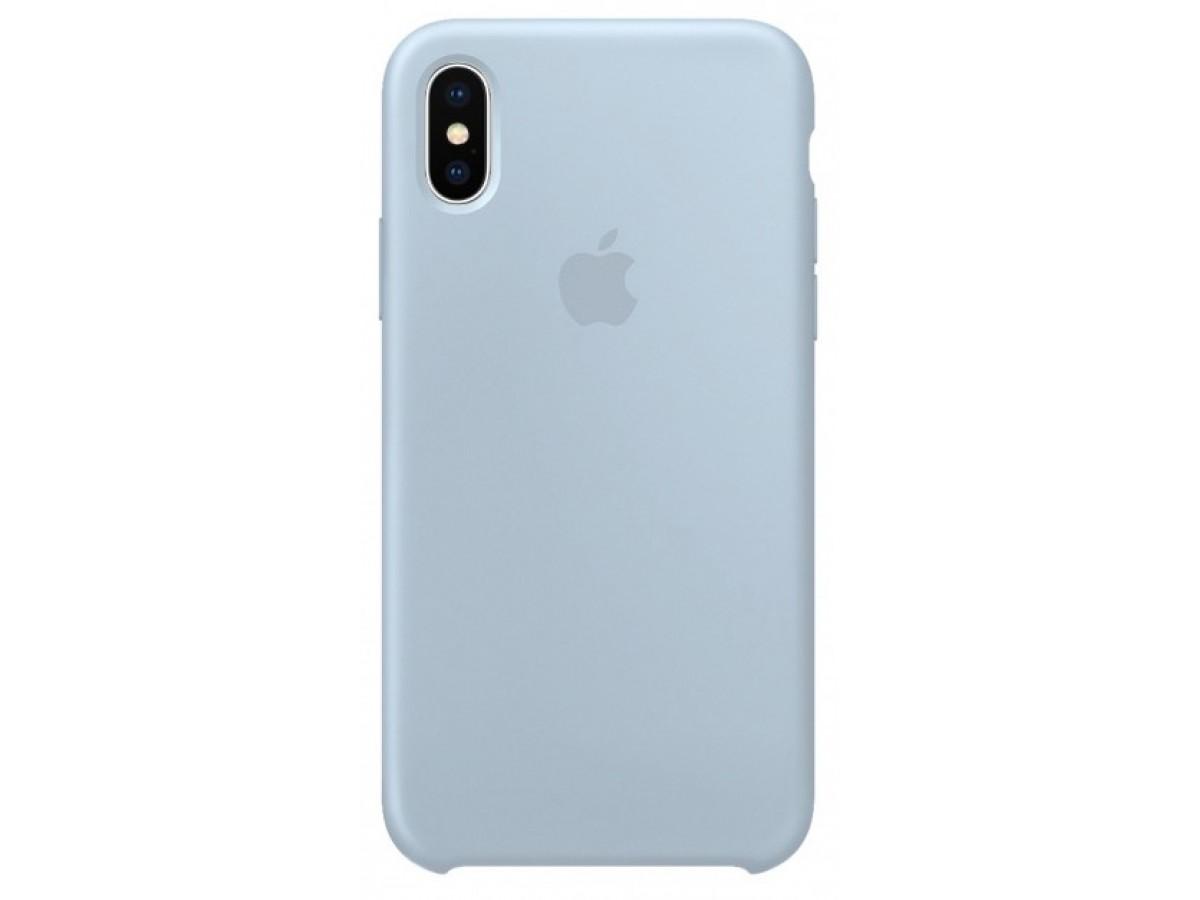Чехол Silicone Case для iPhone X/Xs светло голубой в Тюмени
