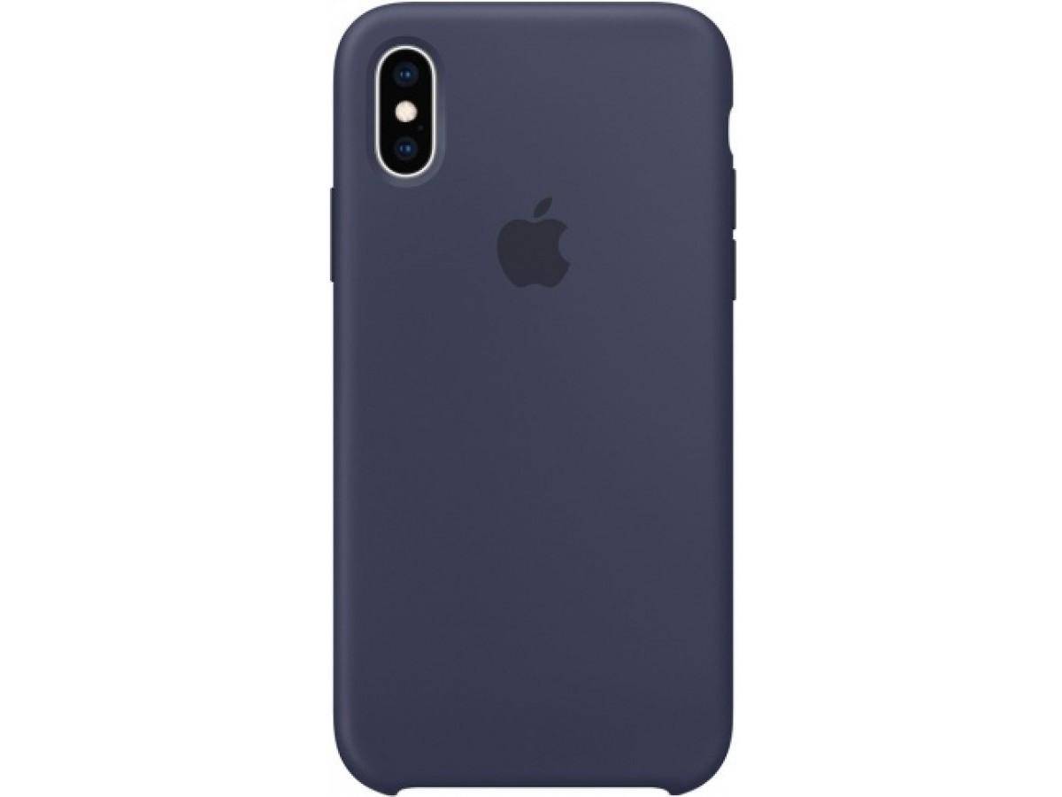 Чехол Silicone Case (С) iPhone Xs Max темно-синий в Тюмени