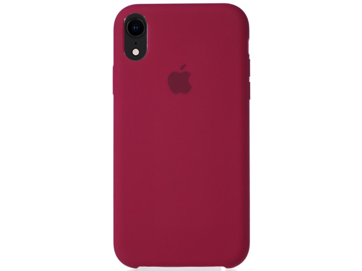 Чехол Silicone Case для iPhone XR малиновый в Тюмени