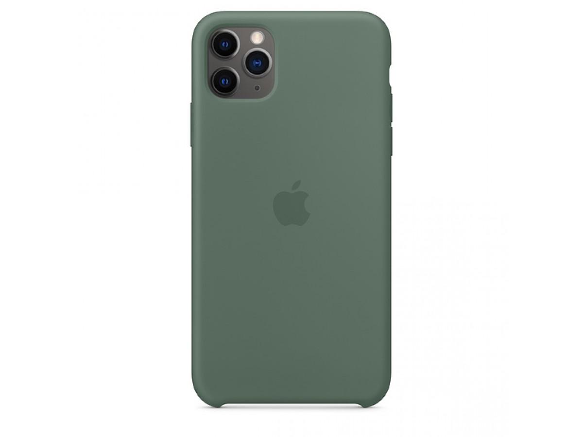 Чехол Silicone Case iPhone 11 Pro Max темно-зеленый (с) в Тюмени