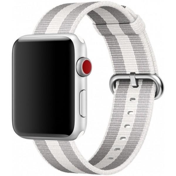 Ремешок Apple Watch 42/44мм из плетеного нейлона серый с белой полоской