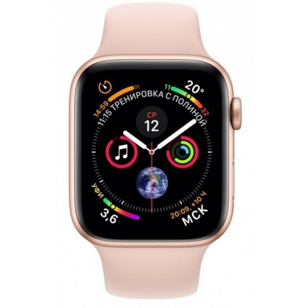 Apple Watch Series 4, 40 мм, корпус из алюминия золотого цвета, спортивный ремешок цвета (розовый песок)