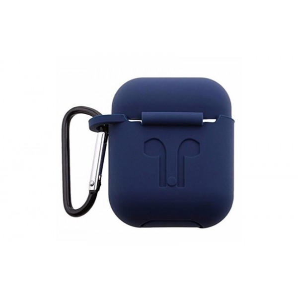 Чехол AirPods с карабином темно-синие