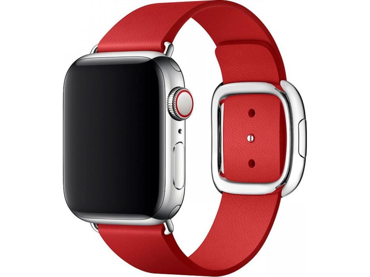 Ремешок кожаный Apple Watch 38/40мм Modern Buckle (красный) в Тюмени