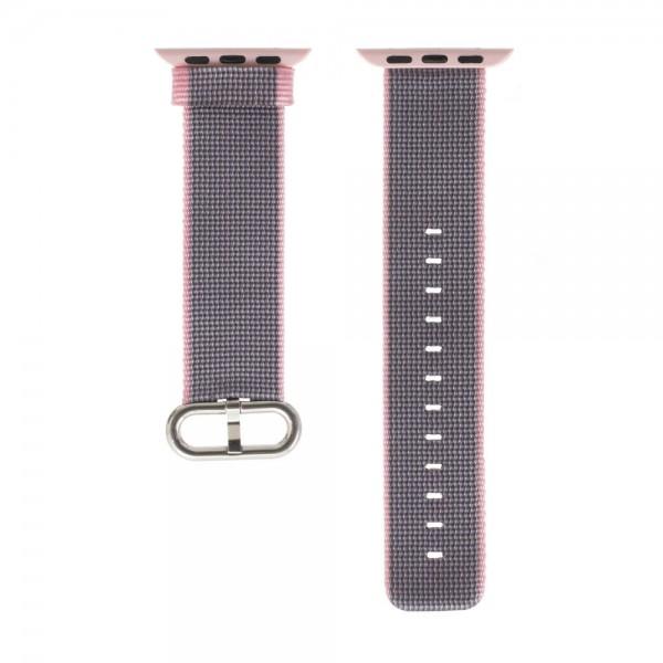 Ремешок Apple Watch 38/40мм из плетеного нейлона (розово-серый)