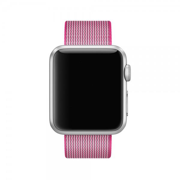 Ремешок Apple Watch 42/44мм из плетеного нейлона (ярко-розовый)
