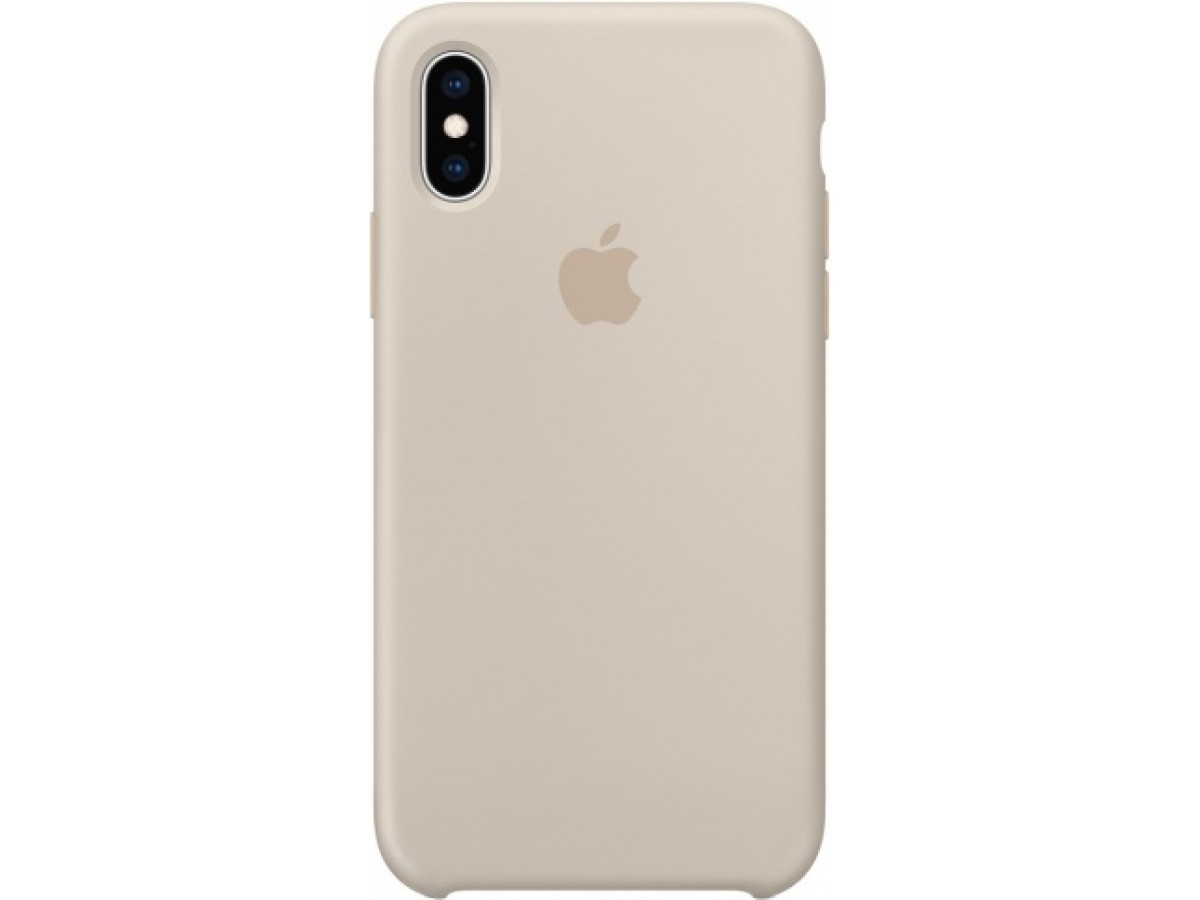 Чехол Silicone Case iPhone Xs Max светло-серый в Тюмени