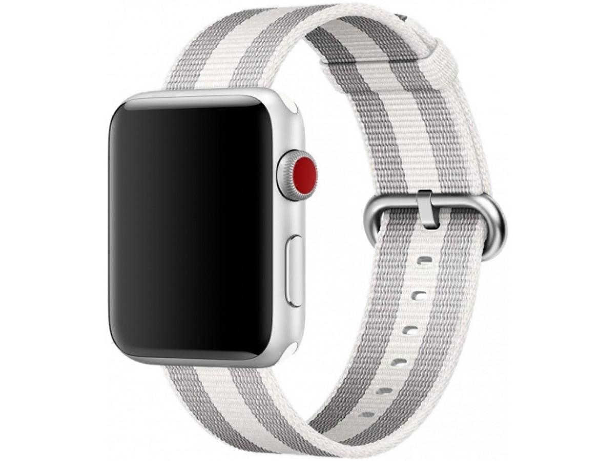 Ремешок Apple Watch 38/40мм из плетеного нейлона (серый с белой полоской) в Тюмени