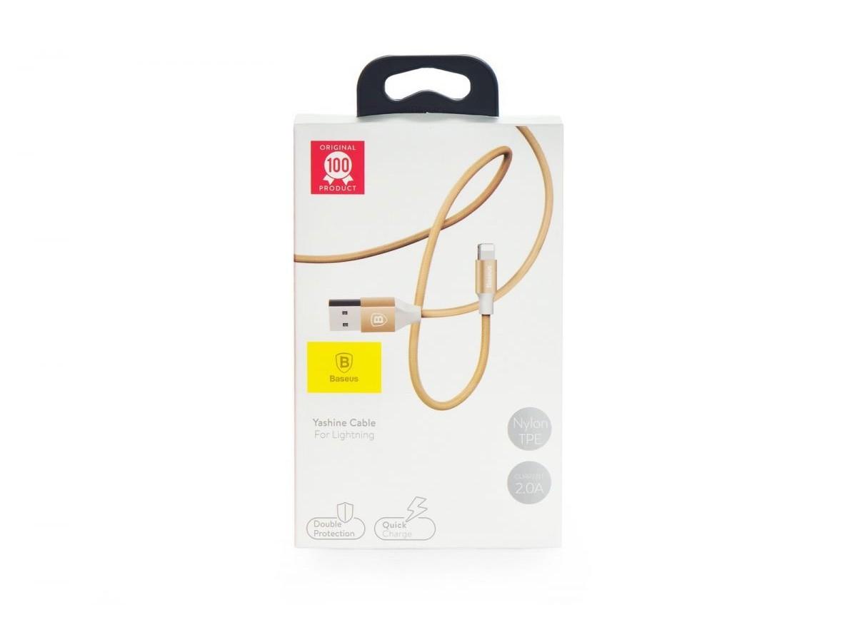 Кабель зарядки Baseus 1m в оплетке и нейлоне (золотой) в Тюмени