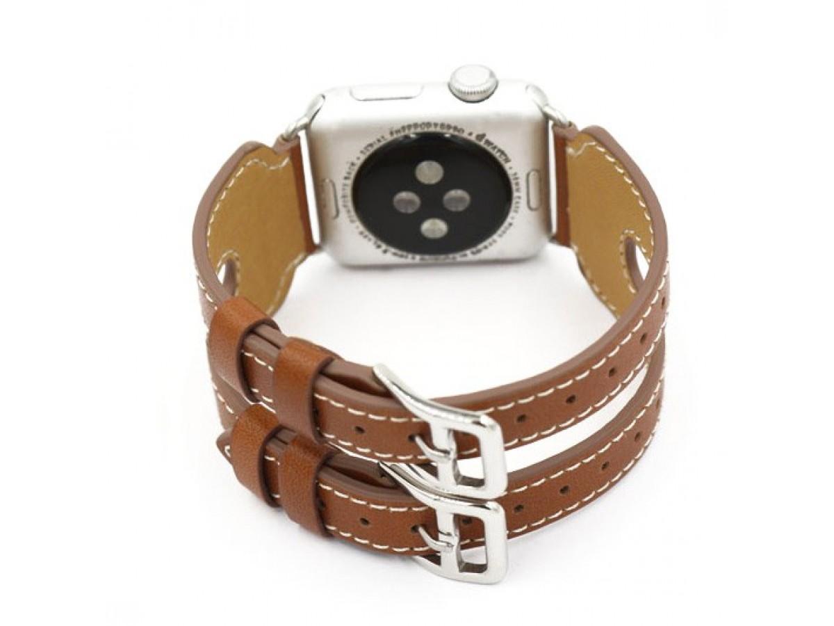 Ремешок кожаный Apple Watch 42/44мм двойной (коричневый) в Тюмени