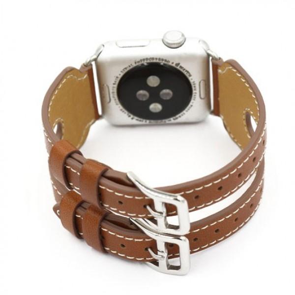 Ремешок кожаный Apple Watch 42/44мм двойной (коричневый)