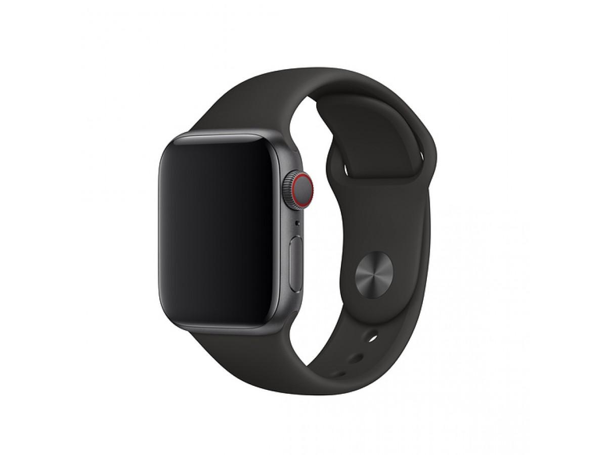 Силиконовый ремешок Apple Watch 42/44мм черный в Тюмени
