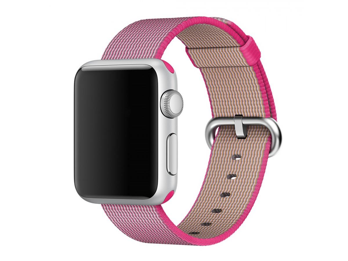 Ремешок Apple Watch 38/40мм из плетеного нейлона (ярко розовый) в Тюмени