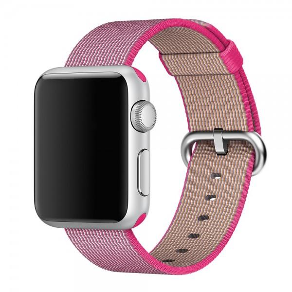 Ремешок Apple Watch 38/40мм из плетеного нейлона (ярко розовый)