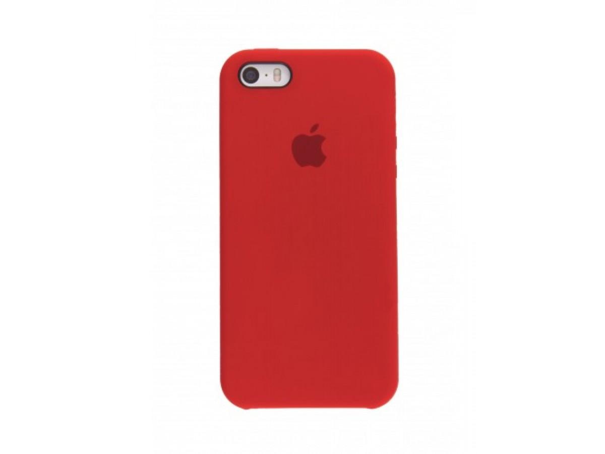 Чехол Silicone Case iPhone 5s/SE красный в Тюмени