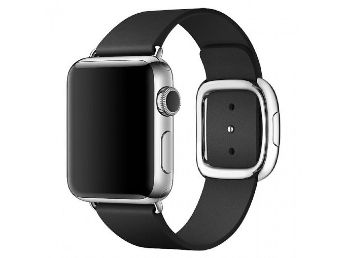 Ремешок кожаный Apple Watch 42/44мм Modern Buckle (черный) в Тюмени