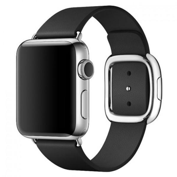 Ремешок кожаный Apple Watch 42/44мм Modern Buckle (черный)