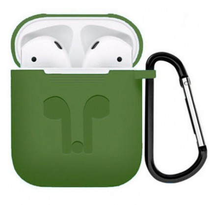 Чехол AirPods с карабином зеленый
