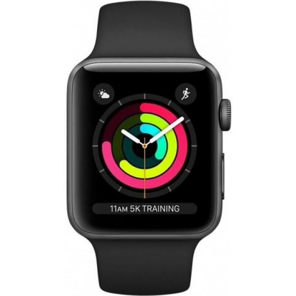 Apple Watch Series 3, 42 мм, корпус из алюминия цвета (серый космос), спортивный ремешок чёрного цвета