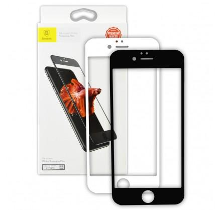 Стекло защитное iPhone 7/8 (3D) Baseus черное/белое