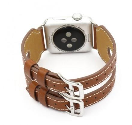 Ремешок кожаный Apple Watch 38/40мм двойной (коричневый...