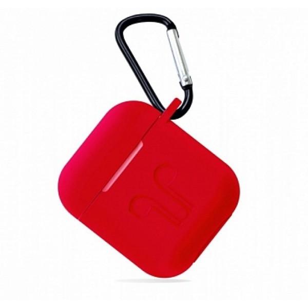 Чехол AirPods с карабином красный