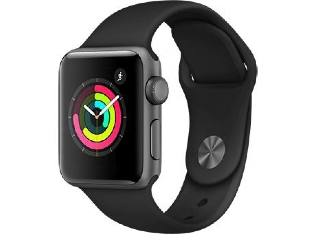 Apple Watch Series 3, 42 мм, корпус из алюминия цвета (серый космос), спортивный ремешок чёрного цвета в Тюмени