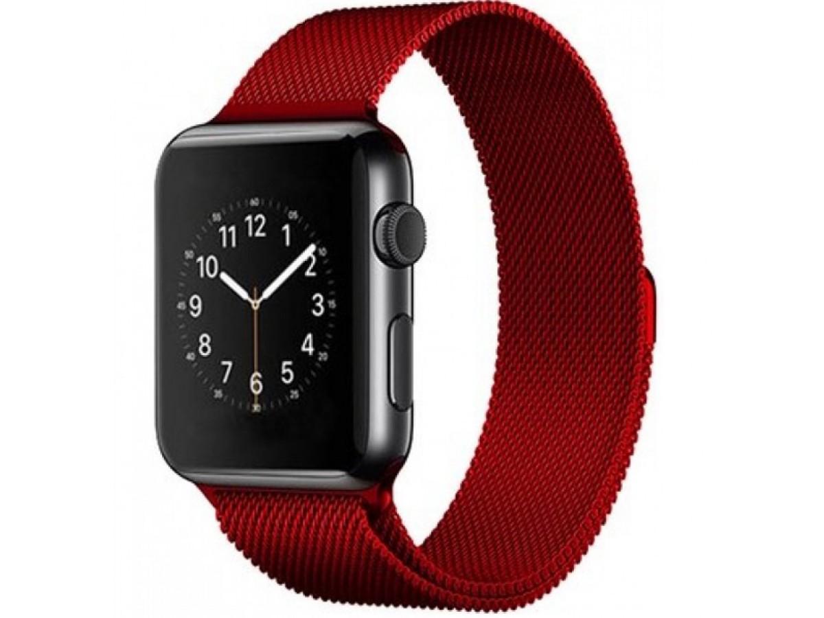 Браслет Apple Watch 42/44мм миланский сетчатый (красный) в Тюмени