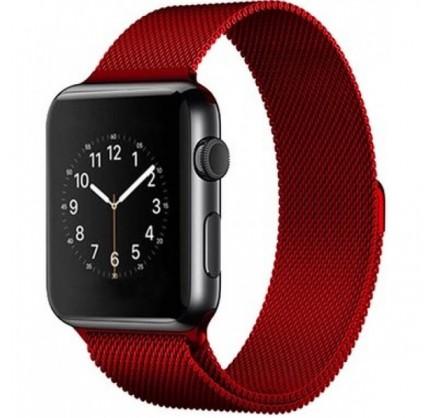Ремешок миланский браслет Apple Watch 42/44 мм красный