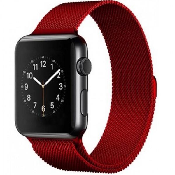 Браслет Apple Watch 42/44мм миланский сетчатый (красный)