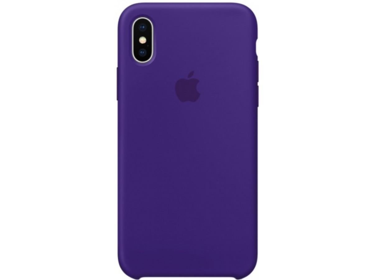Чехол Silicone Case iPhone X/Xs фиолетовый в Тюмени