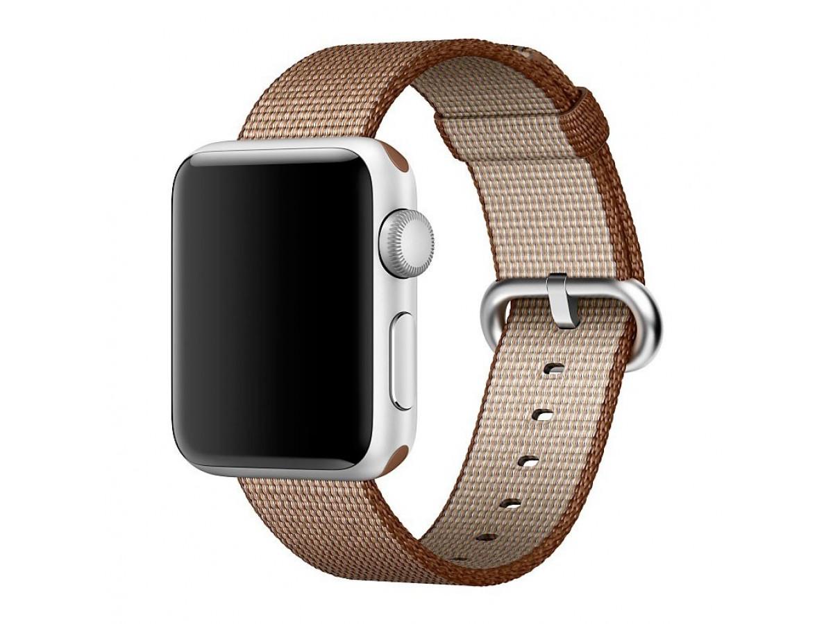 Ремешок Apple Watch 42/44мм из плетеного нейлона (коричневый) в Тюмени