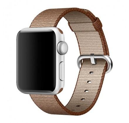 Ремешок Apple Watch 42/44мм из плетеного нейлона (корич...