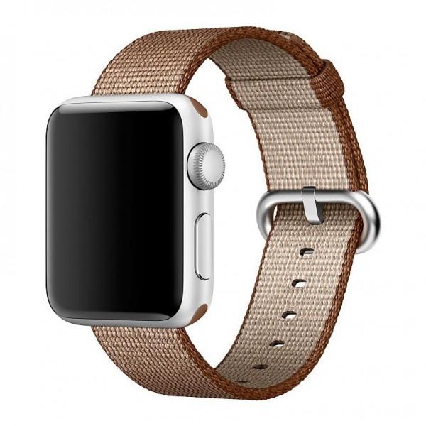 Ремешок Apple Watch 42/44мм из плетеного нейлона (коричневый)